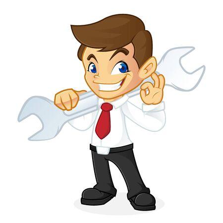Businessman porta chiave isolata in sfondo bianco Archivio Fotografico - 81437574