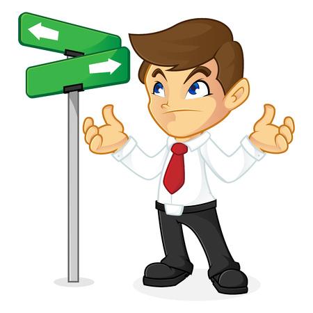 Direzione di scelta dell'uomo d'affari in strada trasversale isolata nel fondo bianco Archivio Fotografico - 81437575