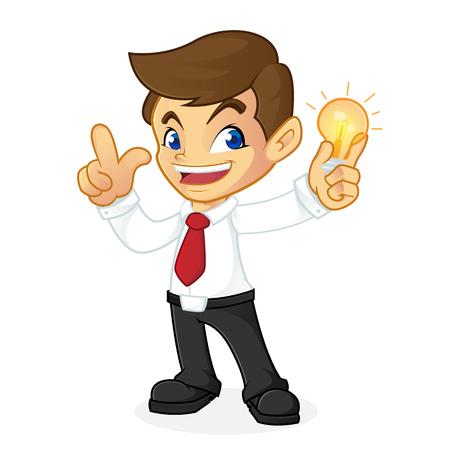 Uomo d'affari che tiene lampadina e che ha idea isolata nel fondo bianco Archivio Fotografico - 81437634