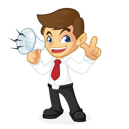 Uomo d'affari holding megafono isolato in sfondo bianco Archivio Fotografico - 81437646
