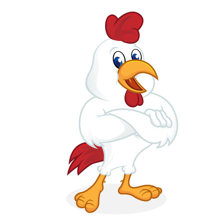 Chicken cartoon folding hands isolated in white background