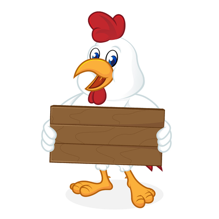Chicken cartoon holding wooden plank isolated in white background