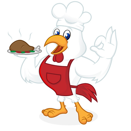 Chicken cartoon wearing chef hat and apron isolated in white background
