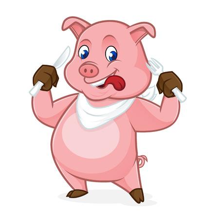 Forchetta e coltello di holding del fumetto di maiale isolato in sfondo bianco Archivio Fotografico - 81732048