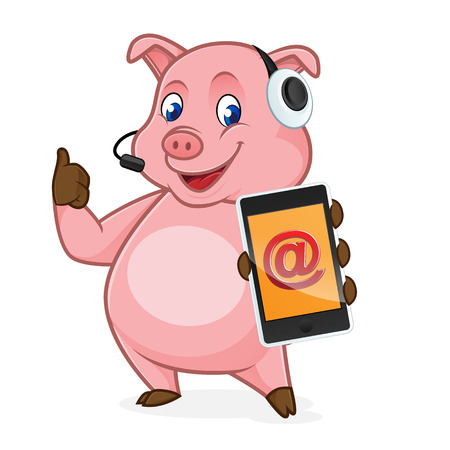 Pig cartoon holding phone and wearing headphone isolated in white background Vettoriali