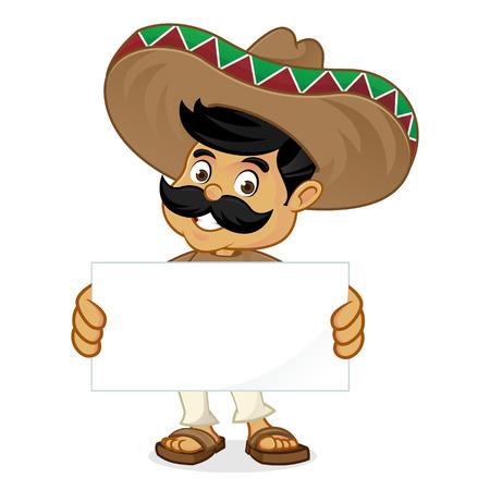 空白を保持しているメキシコ人男性漫画署名で孤立した白い背景  イラスト・ベクター素材