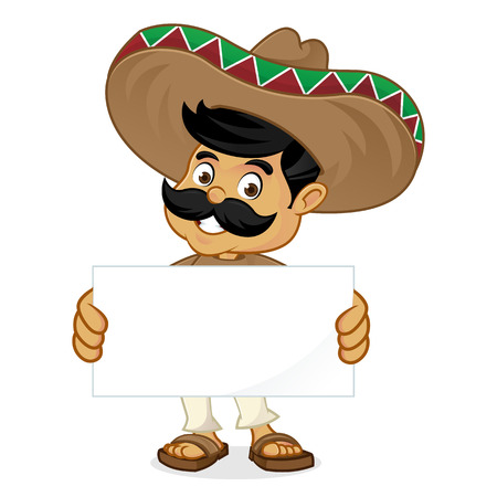 Mexican man cartoon holding blank sign isolated in white background Иллюстрация