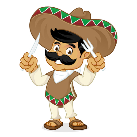 Mexican man cartoon holding fork and knife isolated in white background
