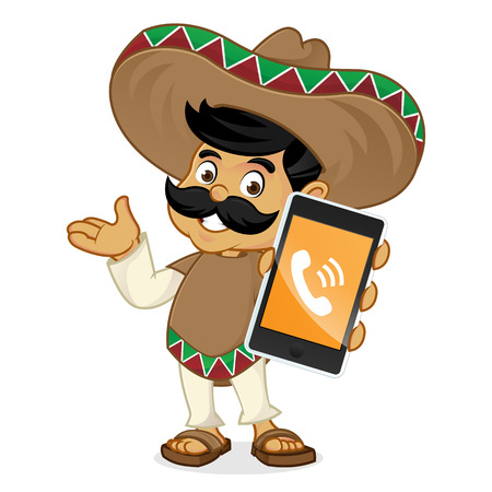 Mexican man cartoon holding phone isolated in white background