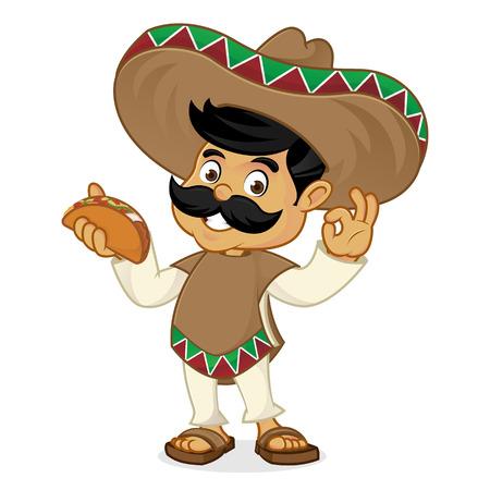 白い背景で隔離のタコスを保持しているメキシコ人男性漫画