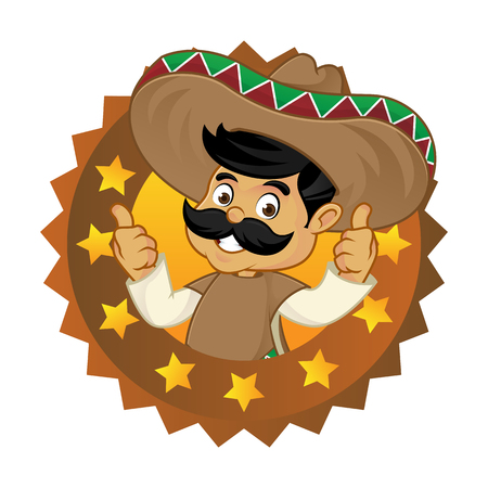 Mexican man cartoon top brand logo isolated in white background