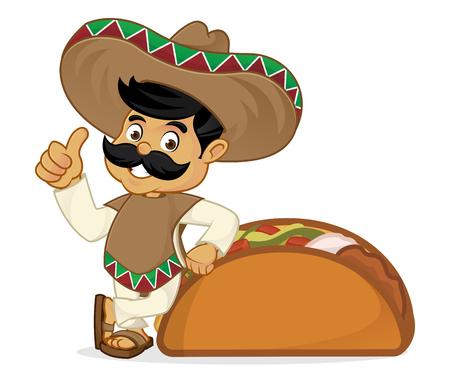 흰색 배경에서 격리 타코에 기울고 멕시코 남자 만화