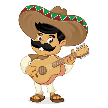 Mexican man cartoon playing guitar isolated in white background  イラスト・ベクター素材