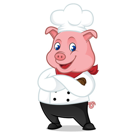 Chef pig cartoon mascot folding hands isolated on white background Stock Vector - 82764144