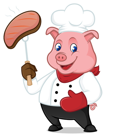 Chef pig cartoon mascot grilling pork isolated on white background