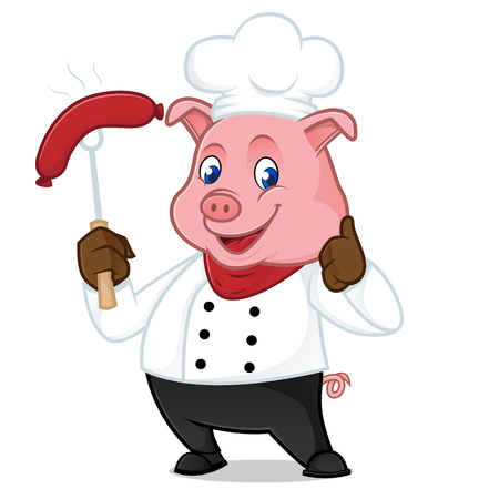 Chef pig cartoon mascot grilling sausage isolated on white background