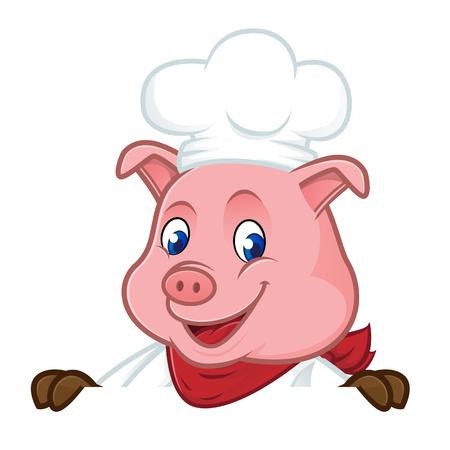 Mascotte del fumetto del maiale del cuoco unico che giudica segno in bianco isolato su fondo bianco Archivio Fotografico - 82764837