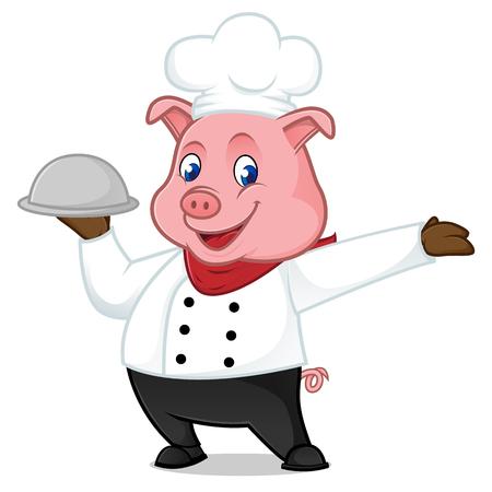 Chef cerdo de dibujos animados mascota sosteniendo la bandeja de alimentos aislados sobre fondo blanco Foto de archivo - 82764842