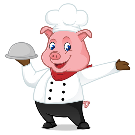 Chef pig cartoon mascot holding food tray isolated on white background