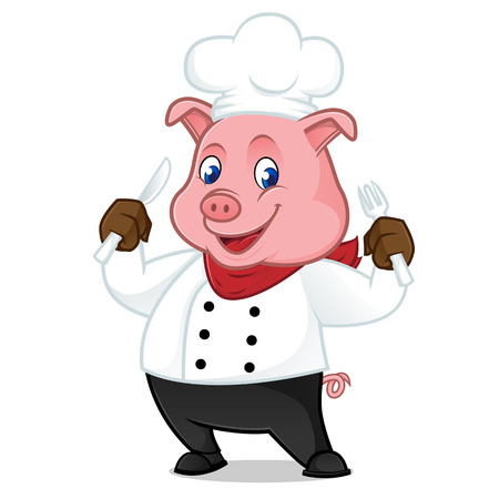 Chef pig cartoon mascot holding fork and knife isolated on white background Vettoriali