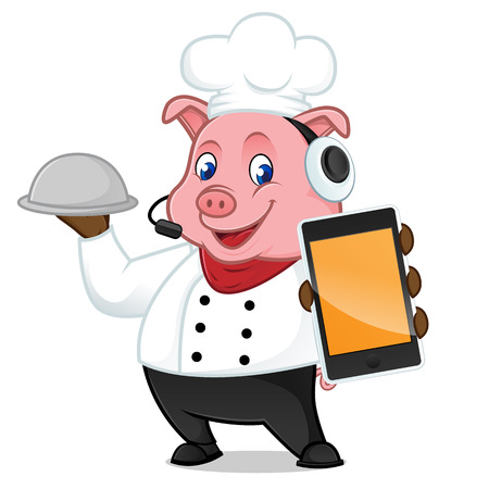 Chef pig cartoon mascot holding phone and food tray isolated on white background Illustration