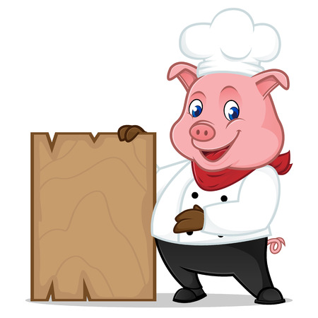 Chef pig cartoon mascot holding wooden plank isolated on white background Illustration