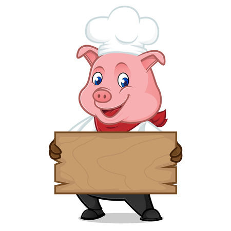 Chef pig cartoon mascot holding wooden plank isolated on white background Ilustração