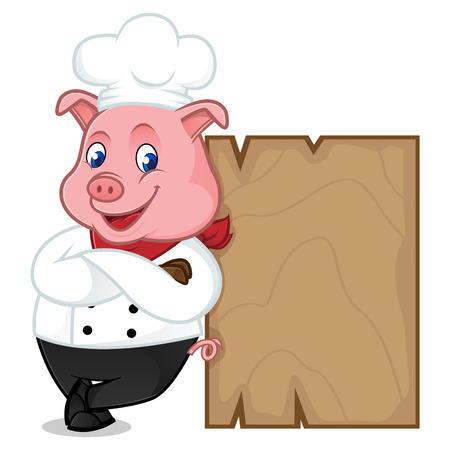 Chef pig cartoon mascot leaning on wooden plank isolated on white background Illustration
