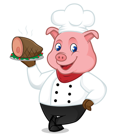 Chef pig cartoon mascot serving pork on tray and leaning isolated on white background Vettoriali
