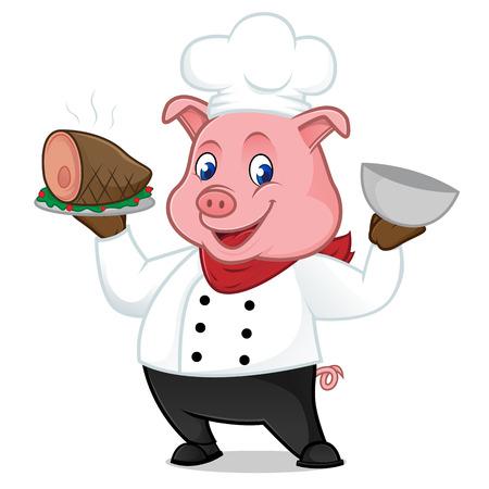 Cucchiaino cartoon mascotte servito su maiale su vassoio isolato su sfondo bianco Archivio Fotografico - 82764850