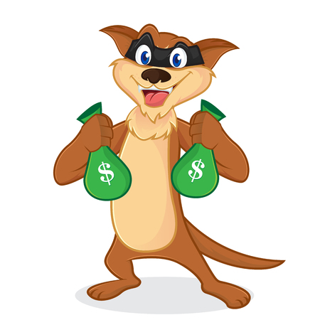Weasel cartoon mascot as a thieft carrying money bags isolated in white backround