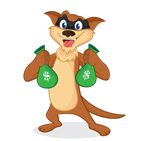 Mascotte cartoon cartoon come un sacchetto che trasportano borse di denaro isolati in backround bianco Archivio Fotografico - 83106802