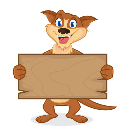 Weasel cartoon mascot holding wooden plank isolated in white backround