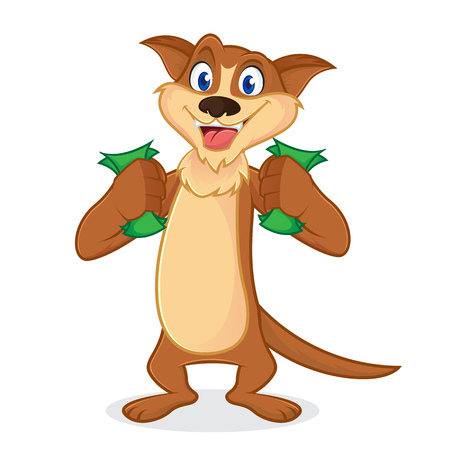 Weasel cartoon mascot holding money isolated in white backround