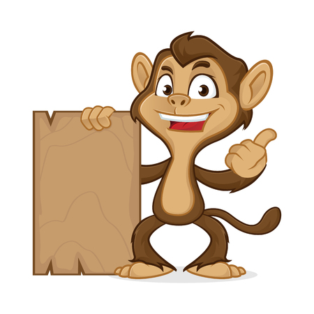Chimp cartoon mascot holding wooden plank isolated in white background Vettoriali