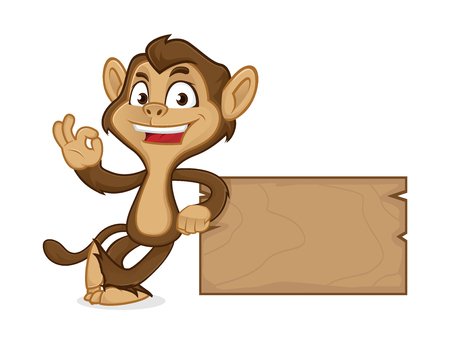 Chimp cartoon mascot leaning on wooden plank isolated in white background Vettoriali
