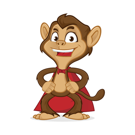 Chimp cartoon mascot wearing cape isolated in white background