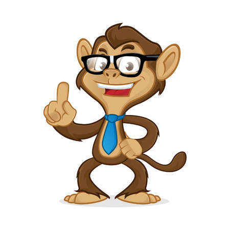 Chimp cartoon mascot wearing glasses and tie isolated in white background