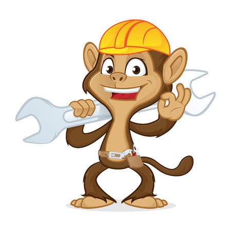 Chimp cartoon mascot wearing helmet and carrying wrench isolated in white background