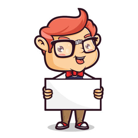 Cartoon illustration of a cute Nerd Geek, Isolated in white Background.