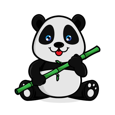 Panda eat bamboo isolated in white background Archivio Fotografico - 114782811