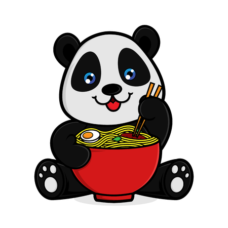 Panda eat noodle isolated in white background
