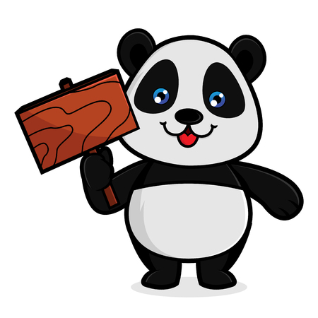 Panda hold wood sign isolated in white background Archivio Fotografico - 114782814
