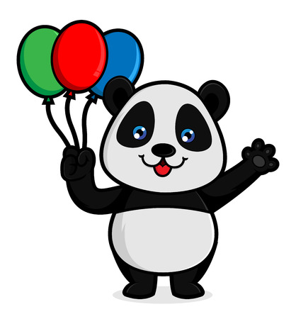 Panda hold balloons isolated in white background Vettoriali