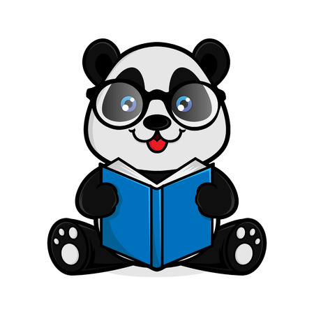 Panda reads book isolated in white background