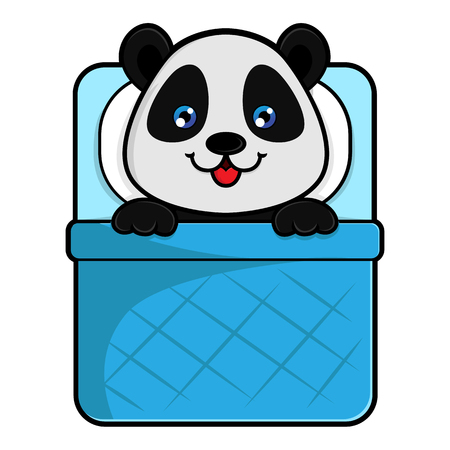 Panda sleeps in bed isolated in white background
