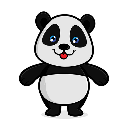 Panda smiling isolated in white background Archivio Fotografico - 114782817