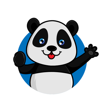 Panda waving isolated in white background