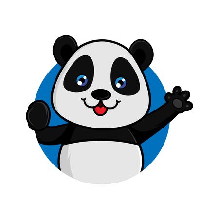 Panda waving isolated in white background Archivio Fotografico - 105201854