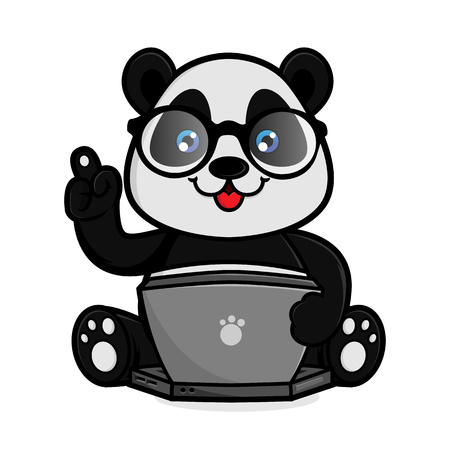 Panda hold laptop isolated in white background Vettoriali